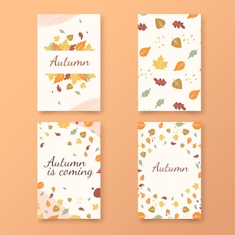 Collection de cartes automne design plat