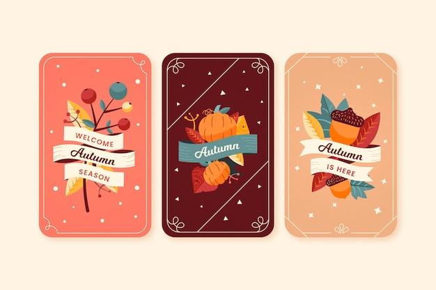 Collection de cartes automne design plat