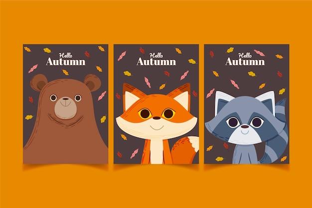 Collection de cartes d'automne de dessin animé