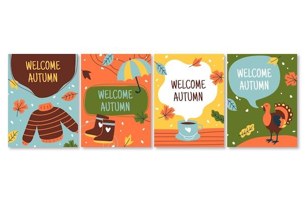Collection De Cartes D'automne Dessinées à La Main Vecteur gratuit