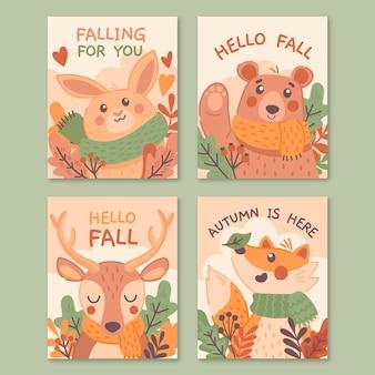 Collection de cartes d'automne dessinées à la main