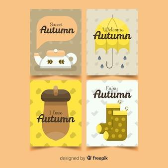Collection de cartes automne dessinés à la main