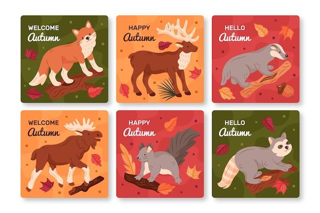 Collection de cartes d'automne dessinés à la main