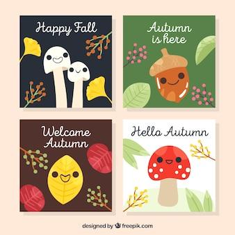 Collection de cartes automne avec des dessins animés mignons