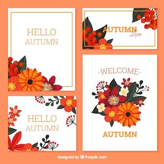 Collection de cartes d'automne avec des feuilles colorées