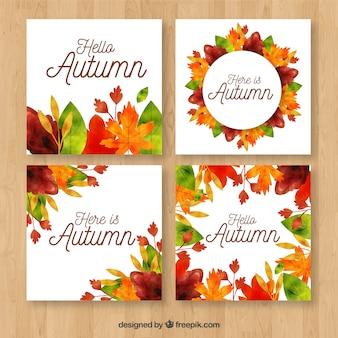 Collection de cartes d'automne avec des feuilles
