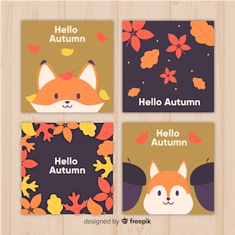 Collection de cartes d'automne plat