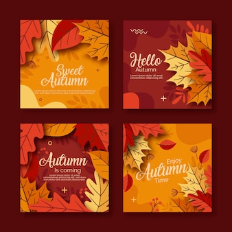 Collection de cartes automne plat