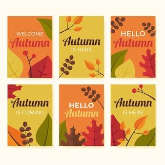 Collection de cartes d'automne plat