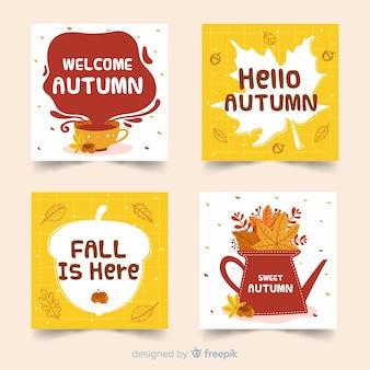 Collection de cartes d'automne style dessiné à la main