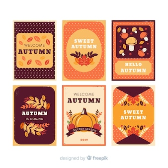 Collection de cartes d'automne vintage