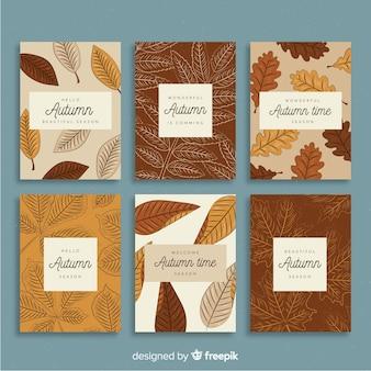 Collection de cartes d'automne vintage
