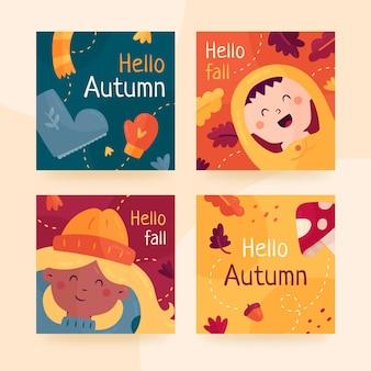 Collection De Cartes D'automne Vecteur gratuit