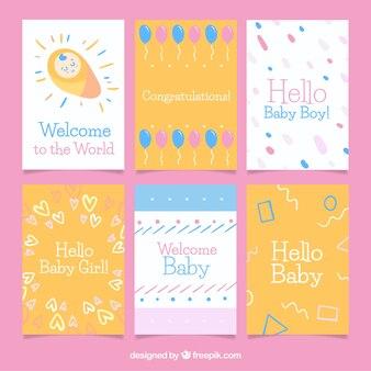 Collection de cartes bébé dans un style dessiné à la main