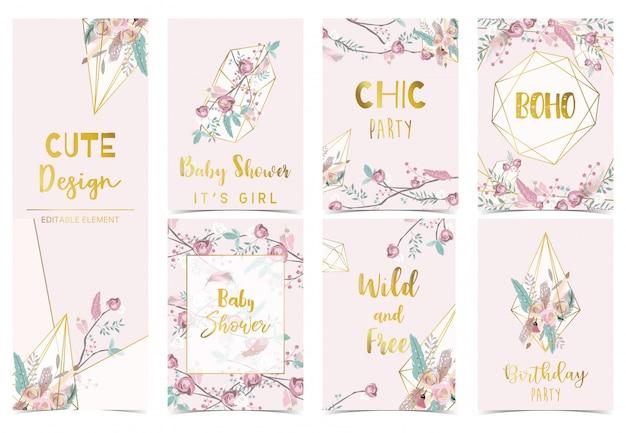 Collection de cartes bohème sertie de fleur, plume. invitation de fête d'anniversaire