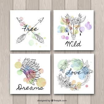 Collection de cartes boho dans un style aquarelle