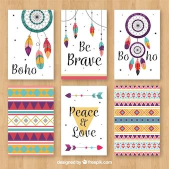 Collection de cartes boho avec des éléments hippie