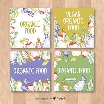 Collection de cartes colorées aliments frais dessinés à la main