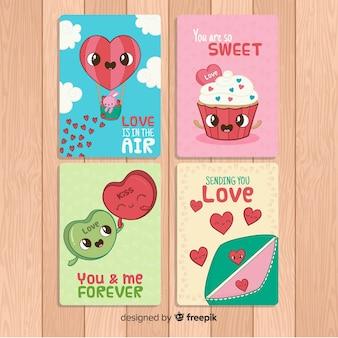 Collection de cartes colorées de la saint-valentin