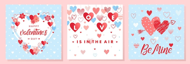 Collection de cartes créatives pour la saint-valentin.