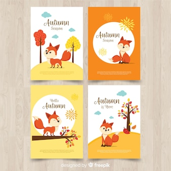 Collection de cartes design automne