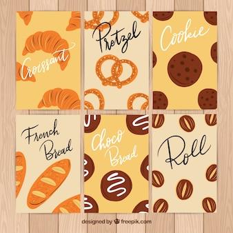 Collection de cartes dessert dessiné à la main
