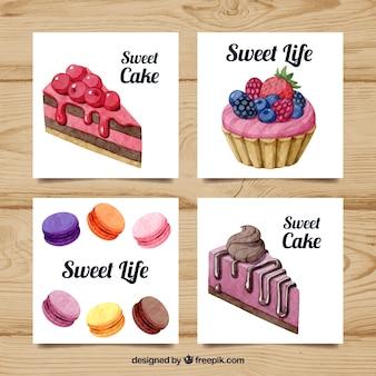 Collection de cartes avec des desserts