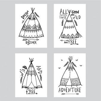 Collection de cartes avec différents types de tentes dans le style boho