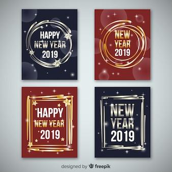 Collection de cartes dorées et argentées pour le nouvel an 2019