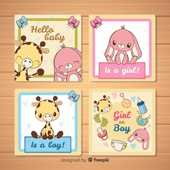 Collection de cartes de douche de bébé belle dessinés à la main