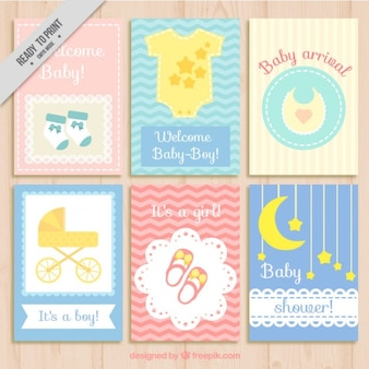 Collection de cartes de douche de bébé mignon