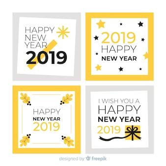 Collection de cartes du nouvel an 2019