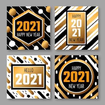 Collection de cartes du nouvel an doré 2021