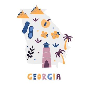 Collection de cartes des états-unis. symboles d'état sur la silhouette grise de l'état - géorgie