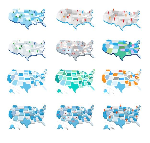 Collection de cartes des états-unis
