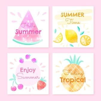 Collection de cartes d'été aquarelle peintes à la main