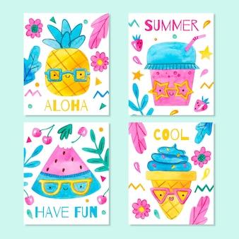 Collection de cartes d'été aquarelle