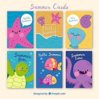 Collection de cartes d'été avec des créatures marines mignons