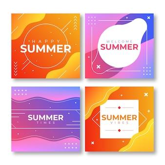 Collection de cartes d'été dégradé
