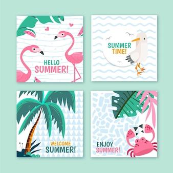 Collection de cartes d'été de dessin animé