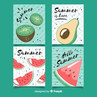 Collection de cartes d'été dessinées à la main