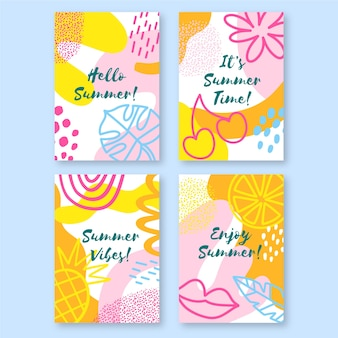 Collection de cartes d'été dessinés à la main
