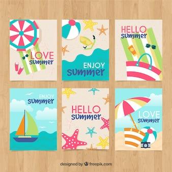 Collection de cartes d'été avec des éléments de plage