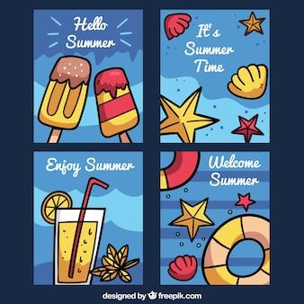Collection de cartes d'été avec de la nourriture et des coquillages