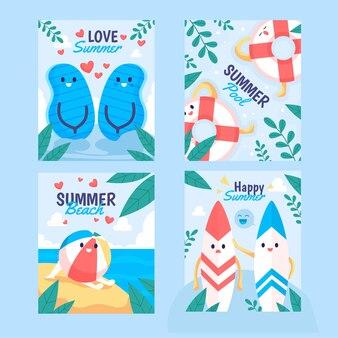 Collection de cartes d'été plat bio