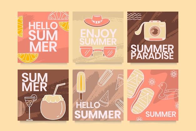 Collection de cartes d'été plat