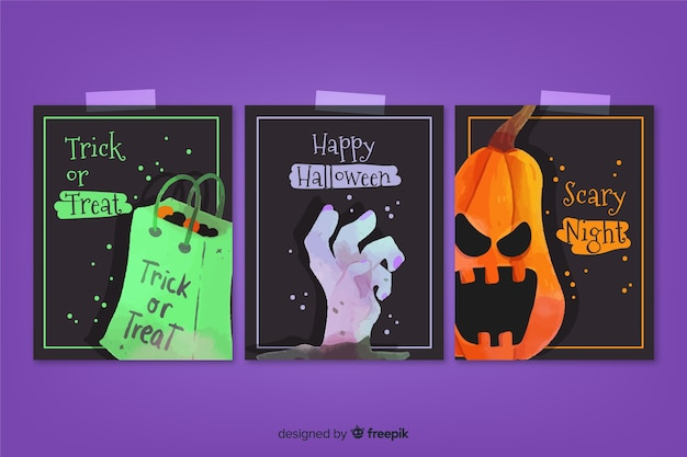 Collection de cartes fantaisie aquarelle halloween