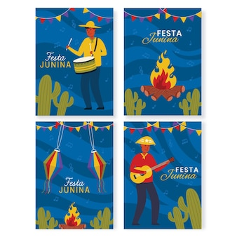 Collection de cartes festa junina dessinées à la main