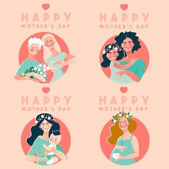 Collection de cartes de fête des mères heureuse