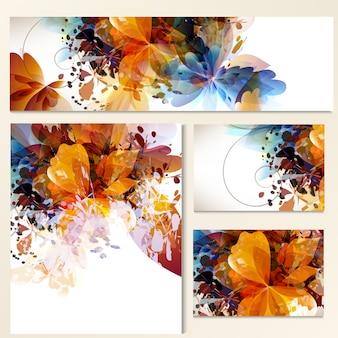 Collection de cartes florales aquarelle
